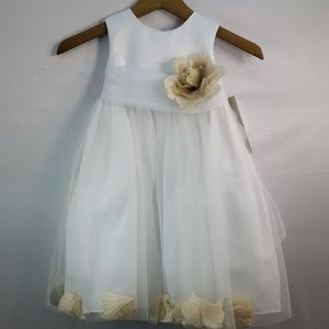 US ANGELS FLOWER GIRL PETAL DRESS WHITE STYLE 705